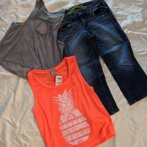 Bundle of two tank top shirts and capri jeans